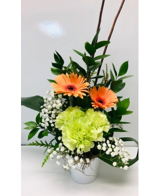 Peach and green flower arrangement