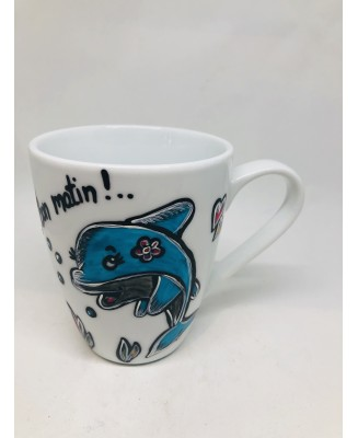 Hand-painted cup with dolphin