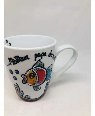 Mug with hand-painted fish