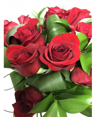 Bouquet of 12 red roses, classic Valentine's Day