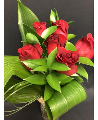 Love, 6 red roses