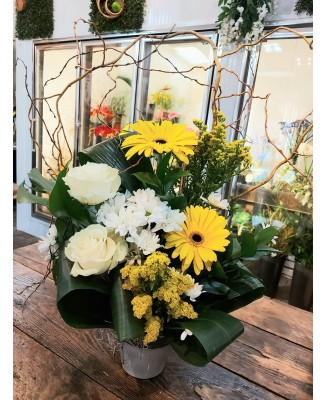Flower basket with yellow gerberas