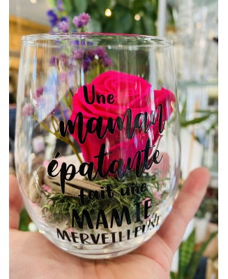 Eternal rose montage in wine glass