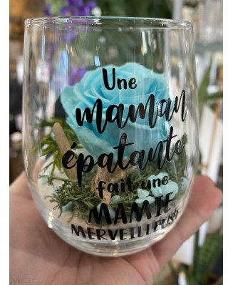 Eternal rose montage in a wine glass
